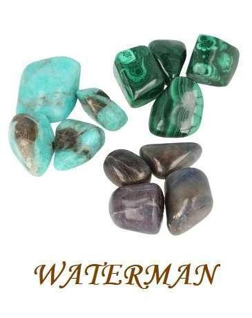 Sterrenbeeld Waterman. Amazoniet, malachiet, saffier.